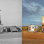 Gas Station - In The Middle Of Nowhere 1940 - Side By Side Art Print
