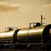 Gasoline Train At Sunset Art Print