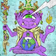 Gautama Buddha Colour Illustration Art Print