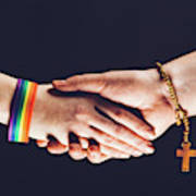 Gay And Christian Person Shaking Hands Art Print