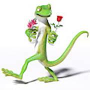 Gecko In Love Art Print