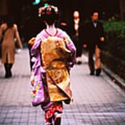 Geisha In Kimono Walking Away, Pontocho Art Print
