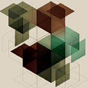 Geometric Cube Background. Eps10 With Art Print