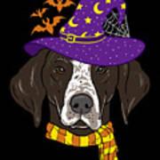 German Shorthair Halloween Witch Hat Flying Bats Art Print