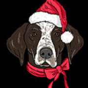German Shorthair Xmas Hat Dog Lover Christmas Art Print