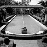 Getty Villa Massive Pool Black White Landscape  Art Print