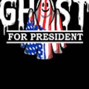 Ghost Elected Cute Halloween Spirit In American Flag Dark Art Print