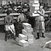 Girl Carrying Boxes Cigarette Factory Art Print
