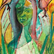 Girl In A Garden Art Print