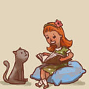 Girl Reads Book To Cat, Vector Art Print