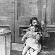 Girl Sitting On Doorstep With Baby Art Print
