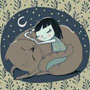 Girl Sleeps With Cat Art Print