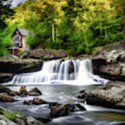 Glade Creek Grist Mill Waterfall Art Print