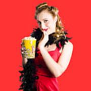 Glamorous Woman Holding Popcorn Art Print