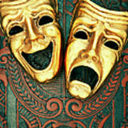 Golden Comedy And Tragedy Masks On Art Print