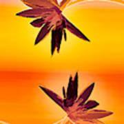 Golden Duo Water Lilies Art Print