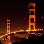 Golden Gate Bridge At Night Art Print