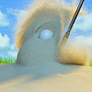 Golf Ball Being Driven Out Of A Sand Art Print