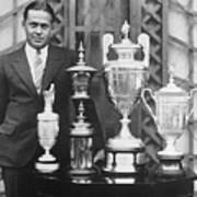 Golfer Bobby Jones With Golf Trophies Art Print