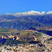 Granada, The Alhambra And Sierra Nevada From The Air Art Print