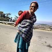 Grandchild And Grandmother Shimla Himachal Pradesh Art Print