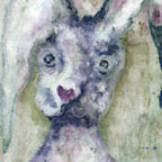 Gray Bunny Love Art Print