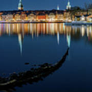 Gray Wolf Shipwreck And Stockholm Gamla Stan Fantastic Reflection In The Baltic Sea  Art Print