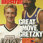 Great Move, Gretzky Magic Johnson Welcomes Wayne Gretzky To Sports Illustrated Cover Art Print