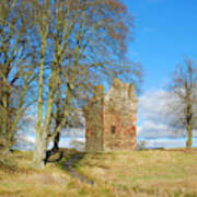 Greenknowe Tower In Late Winter Sun Scottish Borders Art Print