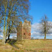 Greenknowe Tower In Winter Sun, Scottish Borders Art Print