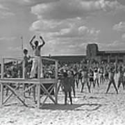 Group Of People Exercising On Beach, B&w Art Print