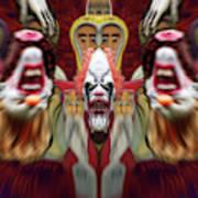Halloween Scary Clown Heads Mirrored Art Print