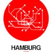 Hamburg Red Subway Map Art Print