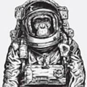Hand Drawn Monkey Astronaut Vector Art Print