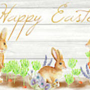 Happy Easter Bunnies (rectangle) Art Print