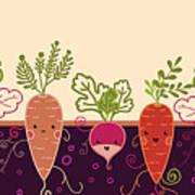 Happy Root Vegetables Horizontal Art Print