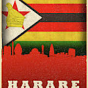 Harare Zimbabwe World City Flag Skyline Art Print