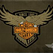 Harley Davidson Old Vintage Logo Fuel Tank Motorcycle Brown Background Art Print