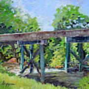 Harrison Park Bridge-ellijay River - Sun Peeking Under Art Print