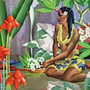 Hawaiian Woman In Landscape Art Print