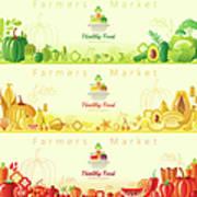 Healthy Organic Food Banners Art Print