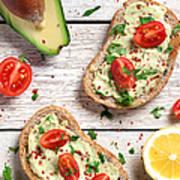 Healthy Whole Grain Bread With Avocado Art Print
