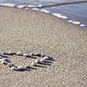 Heart Made Of Pebbles On Sand Art Print