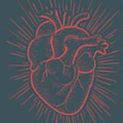Heart On Red Art Print