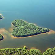 Heart-shaped Island In Lake Art Print