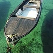 High Angle View Of Boat Moored On Sea Art Print