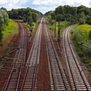 High Angle View Of Empty Railroad Tracks Art Print