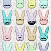 Hipster Bunnies Art Print