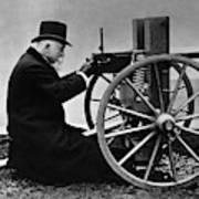 Hiram Maxim Firing His Maxim Machine Gun - 1884 Art Print