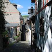 historic cobbled lane in Beilstein Germany Art Print